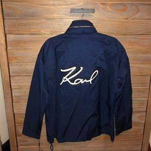 NWT Karl Lagerfeld Hooded Logo Windbreaker Jacket